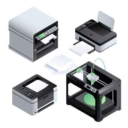 Printer icon set. Isometric set of printer vector icons for web design isolated on white background