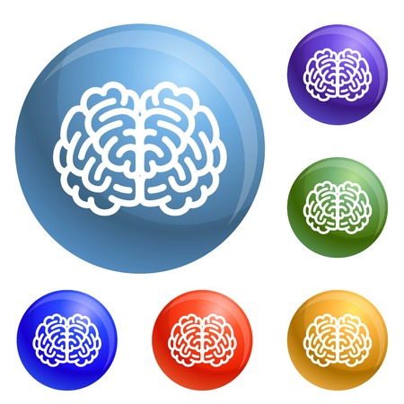 Front side brain icons set vector 6 color isolated on white background