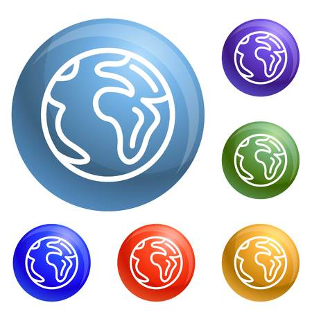 Earth icons set vector 6 color isolated on white background