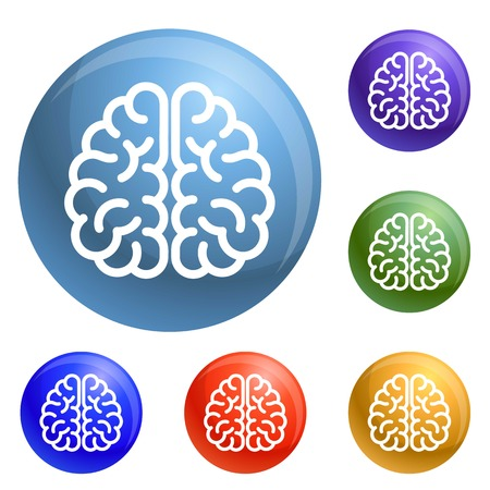 Genius brain icons set vector 6 color isolated on white background
