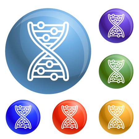Dna formula icons set vector 6 color isolated on white background