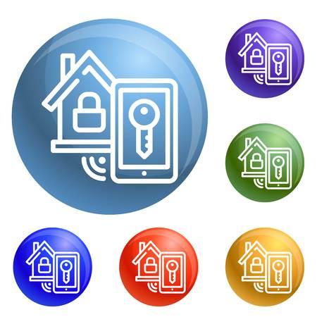 Smart house lock icons set vector 6 color isolated on white background Ilustração