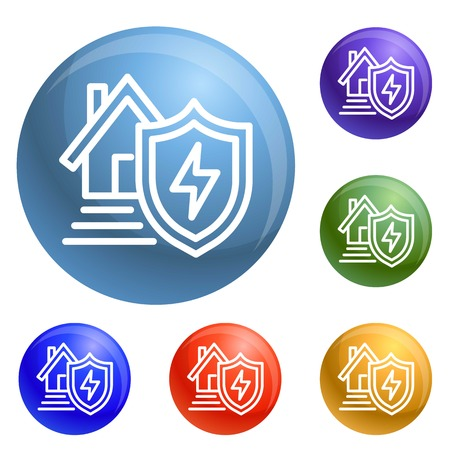 Energy house protect icons set vector 6 color isolated on white background