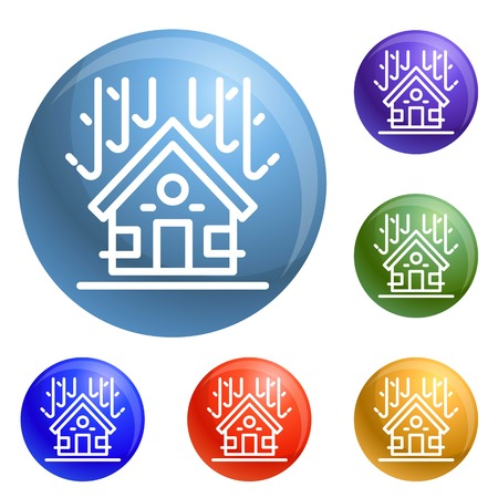 Protected house roof icons set vector 6 color isolated on white background