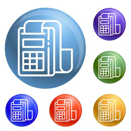 Pay device icons set vector 6 color isolated on white background