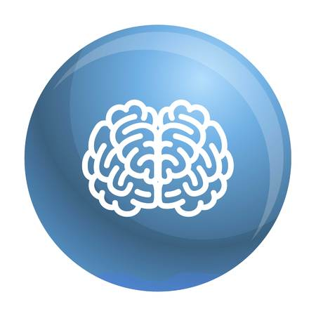 Front side brain icon. Outline front side brain icon for web design isolated on white background