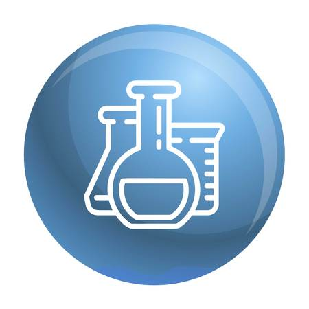 Chemistry flask icon. Outline chemistry flask icon for web design isolated on white background