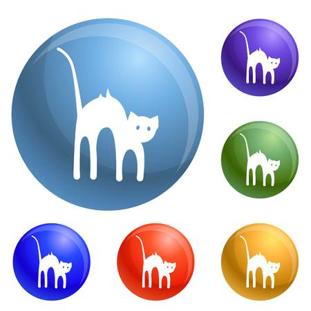 Scary cat icons set 6 color isolated on white background