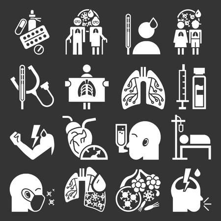 Pneumonia icon set. Simple set of pneumonia icons for web design on gray background
