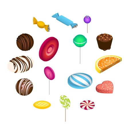 Sweet candy icon set. Isometric set of sweet candy icons for web design isolated on white background Stock fotó