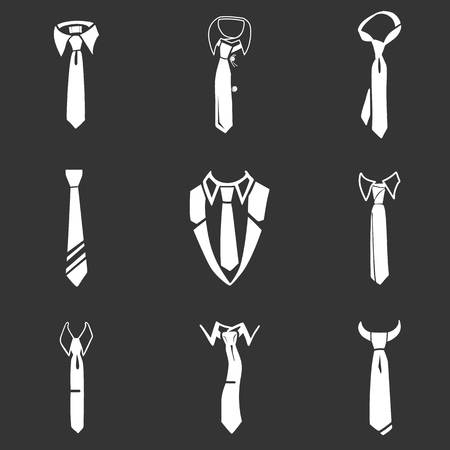 Tie icon set. Simple set of tie icons for web design isolated on gray background