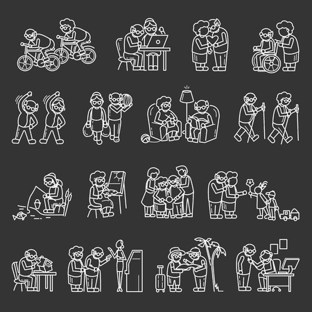 Older persons icon set. Simple set of older persons icons for web design on gray background Imagens