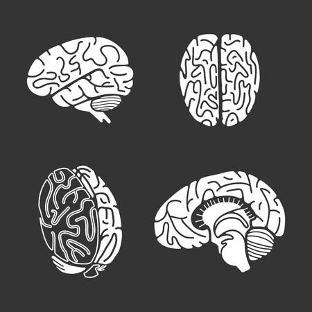 Brain icon set. Simple set of brain icons for web design on gray background