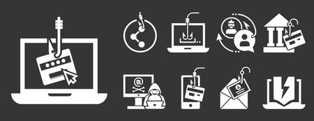 Phishing icon set. Simple set of phishing icons for web design on gray background Stockfoto
