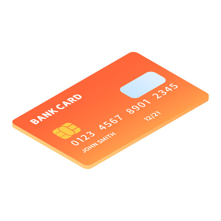Credit card icon. Isometric of credit card icon for web design isolated on white background