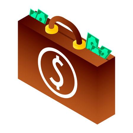 Bribery money suitcase icon. Isometric of bribery money suitcase icon for web design isolated on white background Stok Fotoğraf