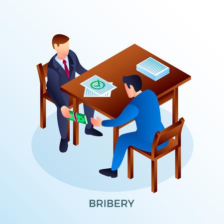 Fondo de concepto de soborno de oficina. Ilustración isométrica del fondo del concepto de soborno de oficina para diseño web