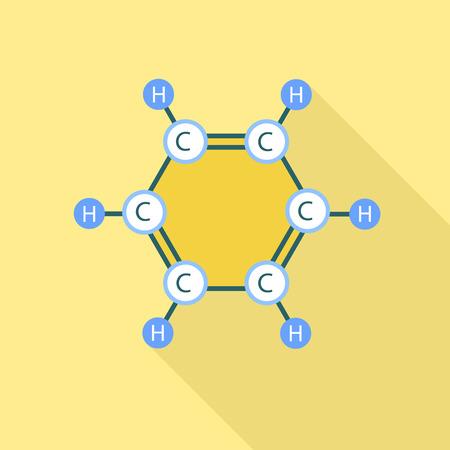 Benzene molecule icon. Flat illustration of benzene molecule icon for web design