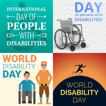 World day persons disabilities banner set. Cartoon illustration of world day persons disabilities banner set for web design