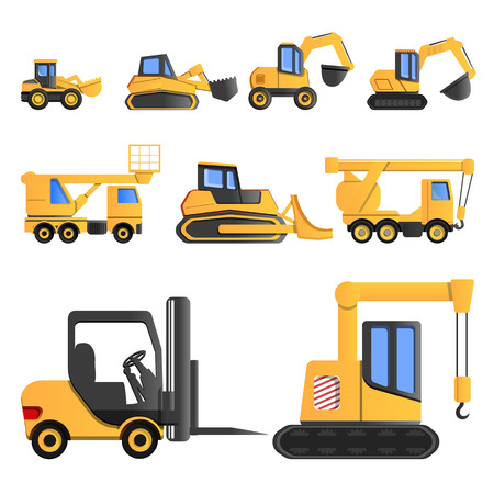 Lifting machine icon set. Cartoon set of lifting machine icons for web design Stock Photo