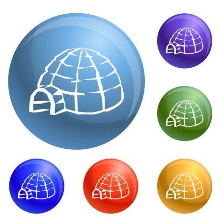 Alaska igloo icons set vector 6 color isolated on white background Illustration