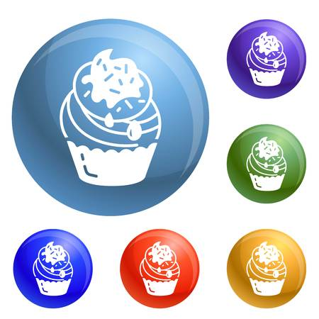 Cupcake icons set vector 6 color isolated on white background 写真素材 - 111622132