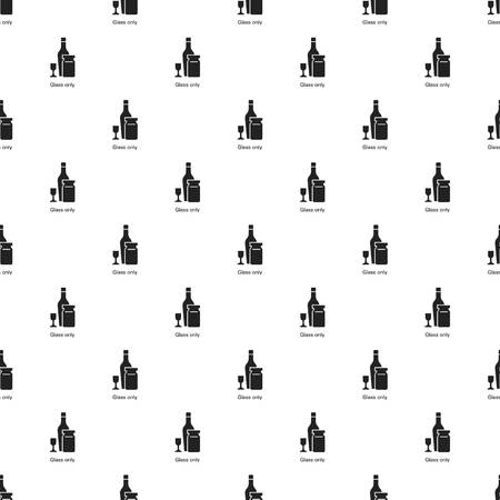 Wine glass bottle pattern seamless vector repeat for any web design Ilustração