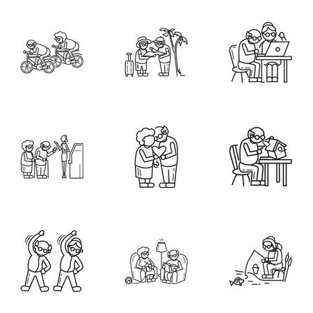 Oudere persoon pictogramserie. Overzichtsreeks van 9 oudere persoons vectorpictogrammen voor webontwerp dat op witte achtergrond wordt geïsoleerd Vector Illustratie