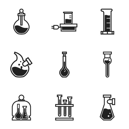 Chemistry flask icon set. Simple set of 9 chemistry flask vector icons for web design isolated on white background