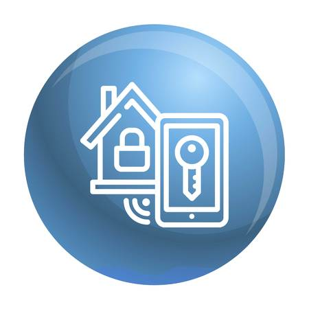 Smart house lock icon. Outline smart house lock icon for web design isolated on white background