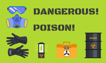 Dangerous poison concept banner. Flat illustration of dangerous poison concept banner for web design Stock Photo