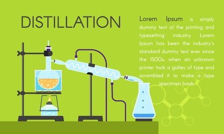 Lab distillation concept banner. Flat illustration of lab distillation concept banner for web design