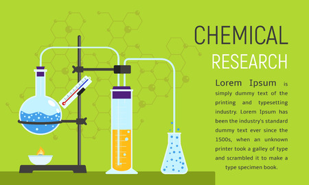Chemical research concept banner. Flat illustration of chemical research concept banner for web design