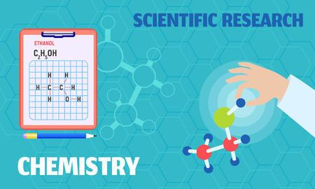 Chemistry scientific research concept banner. Flat illustration of chemistry scientific research concept banner for web design Stock Photo
