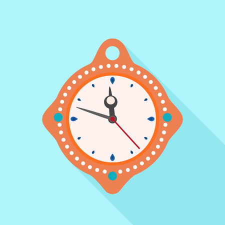 Clock time new year icon. Flat illustration of clock time new year icon for web design