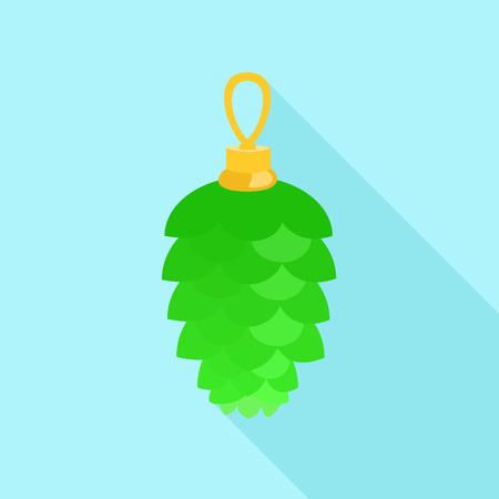 Green toy fir tree icon. Flat illustration of green toy fir tree icon for web design Фото со стока