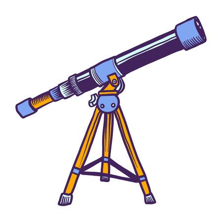 Space telescope icon. Hand drawn illustration of space telescope icon for web design Stok Fotoğraf