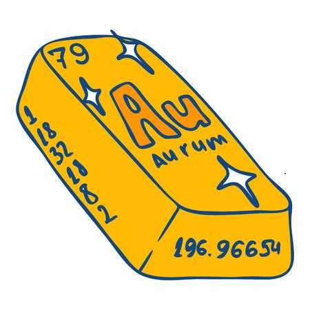 Aurum bar icon. Hand drawn illustration of aurum bar icon for web design Banco de Imagens