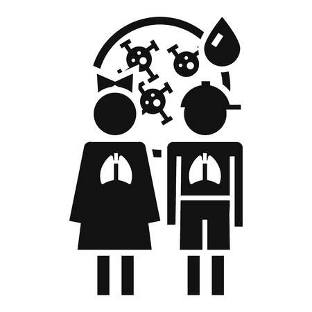 Girl boy pneumonia virus icon. Simple illustration of girl boy pneumonia virus icon for web design isolated on white background