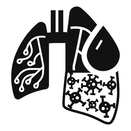 Icona dei polmoni del virus della polmonite. Semplice illustrazione dell'icona dei polmoni del virus della polmonite per il web design isolato su sfondo bianco Archivio Fotografico