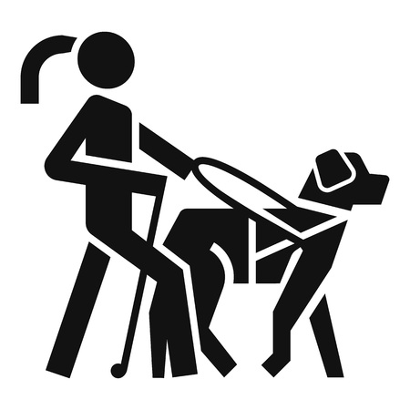 Blind girl dog guide icon. Simple illustration of blind girl dog guide icon for web design isolated on white background