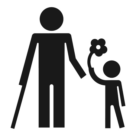Disability person and healthy kid icon. Simple illustration of disability person and healthy kid icon for web design isolated on white background Stock Photo
