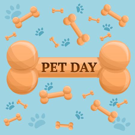 Pet day dog bone concept background. Cartoon illustration of pet day dog bone concept background for web design Stock Photo