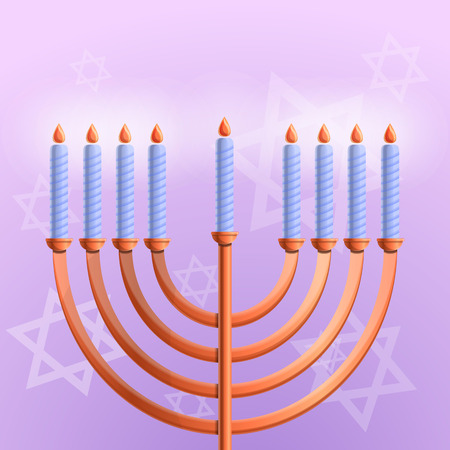 Jewish hanukkah concept background. Cartoon illustration of jewish hanukkah concept background for web design Stock Photo