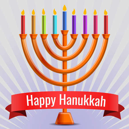 Happy judaic hanukkah concept background. Cartoon illustration of happy judaic hanukkah concept background for web design
