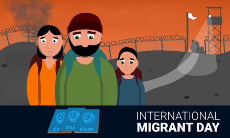 Homeless international migrant day concept banner. Cartoon illustration of homeless international migrant day concept banner for web design Stock Photo