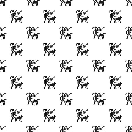 Woman blind dog guide pattern seamless vector repeat for any web design