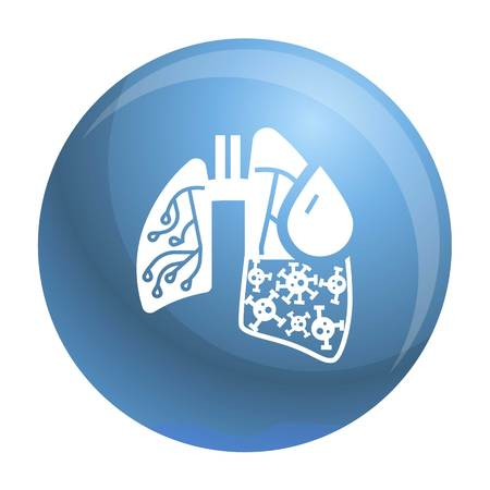 Pneumonia virus lungs icon. Simple illustration of pneumonia virus lungs vector icon for web design isolated on white background