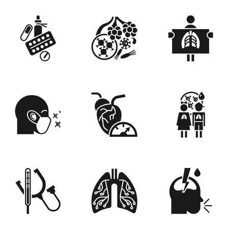 Conjunto de iconos de enfermedad de neumonía. Conjunto simple de 9 iconos de vector de enfermedad de neumonía para diseño web aislado sobre fondo blanco