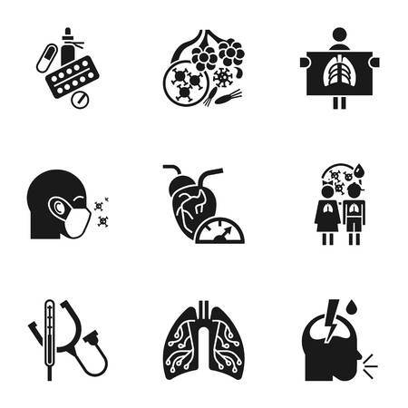 Pneumonia disease icon set. Simple set of 9 pneumonia disease vector icons for web design isolated on white background